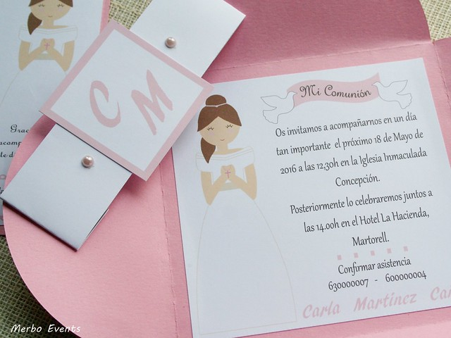 invitaciones comunion niña modelo Tivoli  Merbo Events