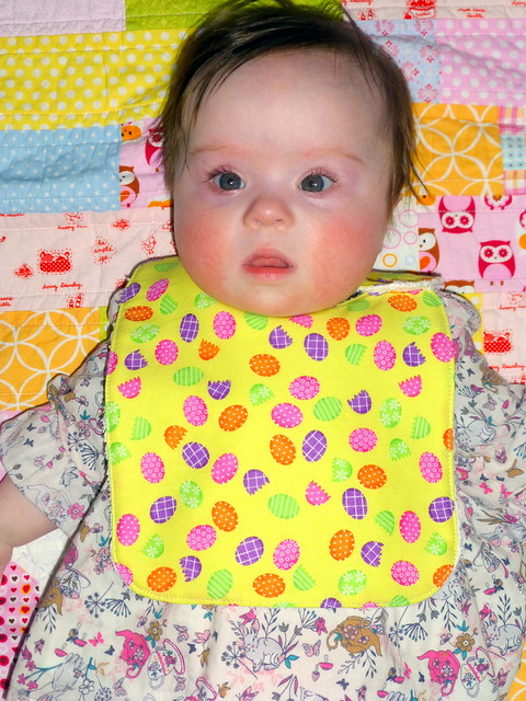 Easter Bib as modelled by Cutesie Tootsie!