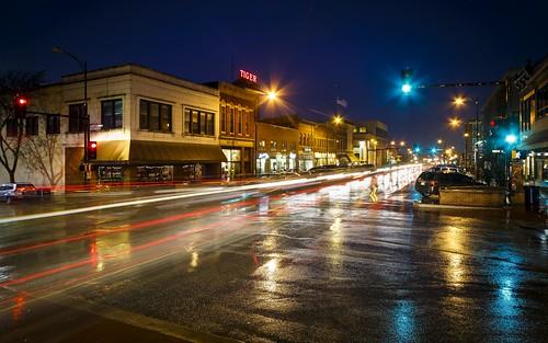 Notley Hawkins Photography, Downtown Columbia Missouri, Broadway Columbia Missouri, architecture, rainy evening, wet, reflection, long exposure, light trails