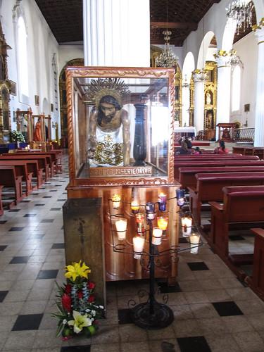 San Cristóbal de las Casas: dans les églises d'Amérique Latine, les souffrances et le martyr de Jésus sont représentés de manière bien plus réalistes que chez nous (sang, blessures de flagellation, etc.)