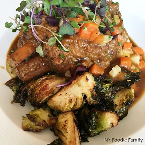 Braised Pork Shank with Brussels Sprouts and Mashed Potatoes