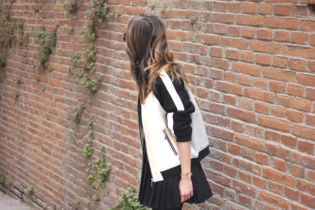 Bomber Mango Black Mango Skirt Black Heels outfit style14