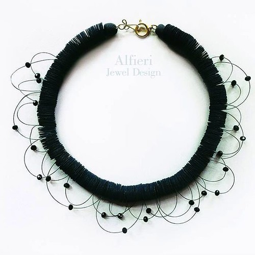 Black Paper Disc and Bead Necklace by Alfieri Jewel Design