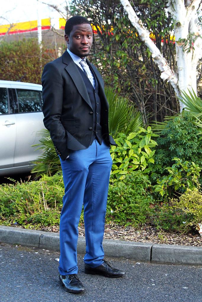Three piece broken suit: Men's black blazer, black waistcoat, sky