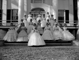 May Day queen Kay Lamb and her court on the steps of the Grove - Tallahassee