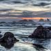 Bandon Beach Rocks At Sunset by TJMORTON1