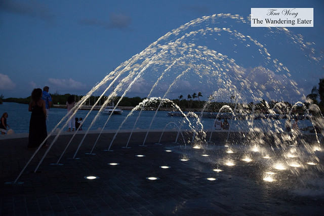 Water fountains at Jasmine Court at Camana Bay