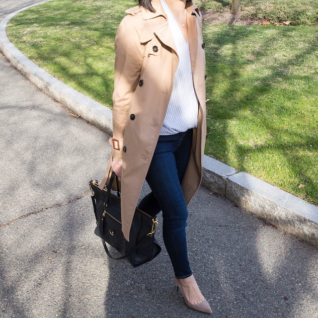 Ann Taylor Classic Long Trench Outfit