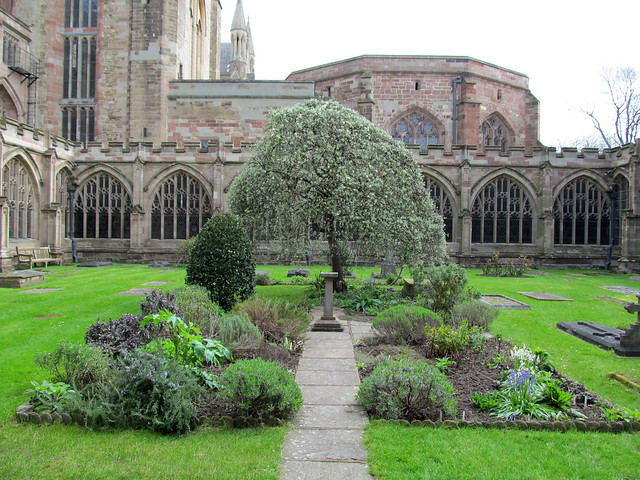 Worcester Cathedral - cloister garden in Spring