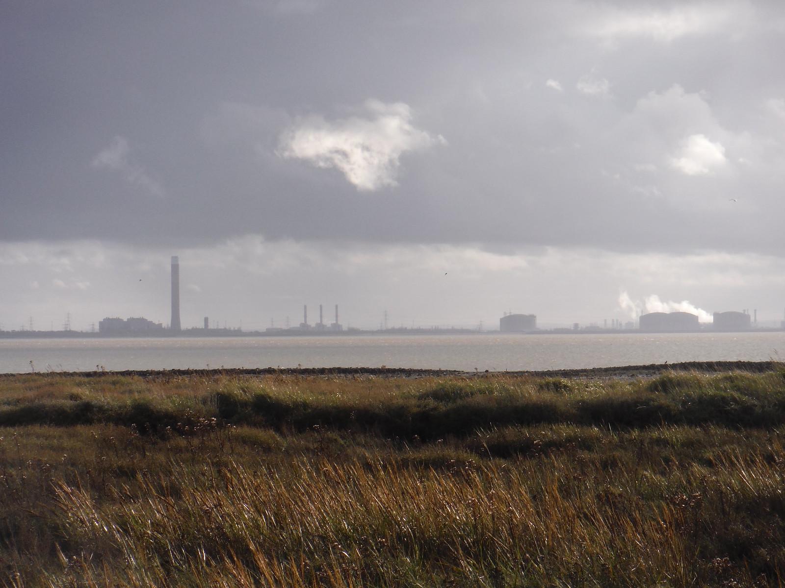Isle of Grain from Leigh Beck marsh SWC Walk 258 Benfleet Circular (via Canvey Island)