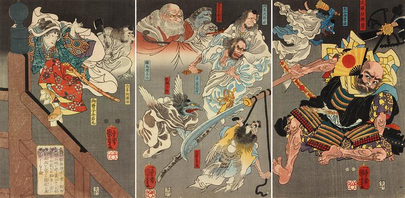 Utagawa Kuniyoshi - Ushiwakamaru (Yoshitsune) Fighting Benkei with the Help of the Tengu, 1847-50