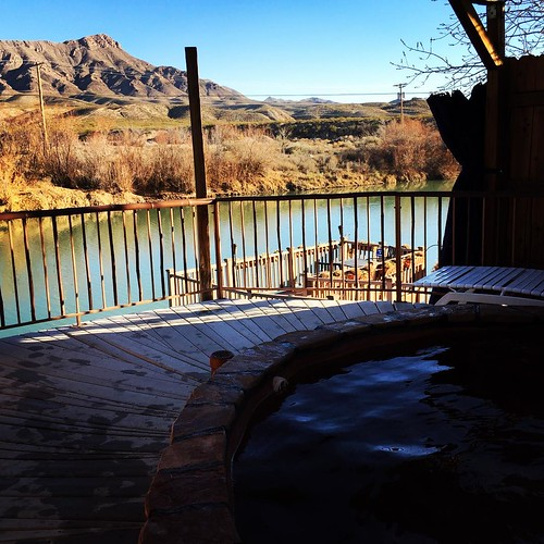 Our view of the  Rio Grande from the hot springs at Riverbend Hot Springs resort. #endofprojecttreat #truthorconsequences
