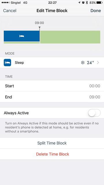 tado iOS App - Smart Schedule - Times - Edit