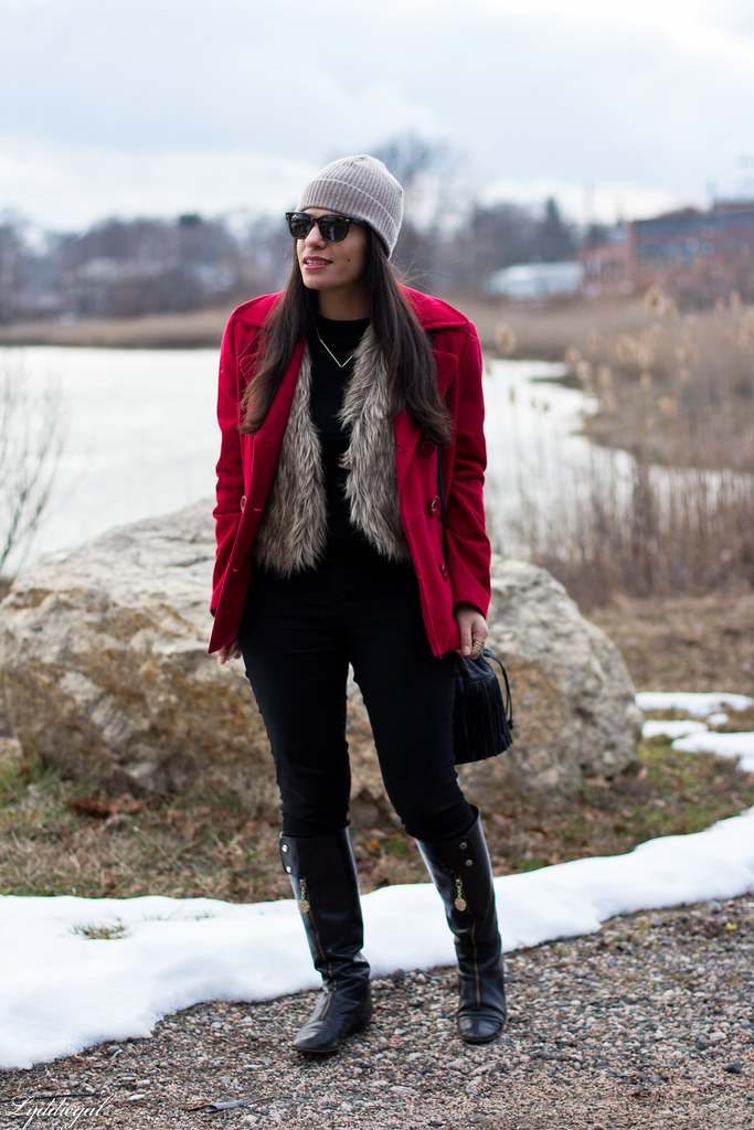 black sweater, fur vest, red coat, fringe bag.jpg