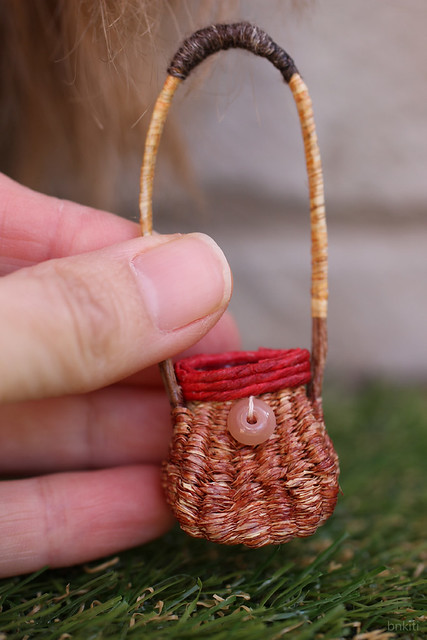 handmade tiny raffia bag