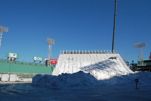 Snow stockpiled at Fenway