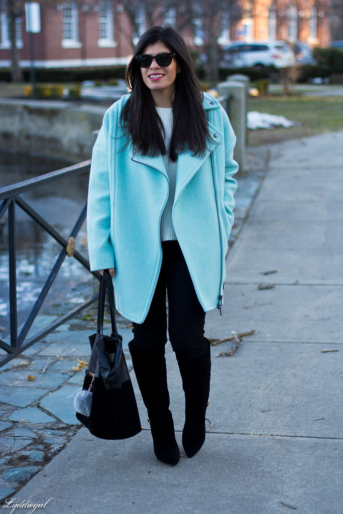 mint cocoon coat, black jeans, white sweater, black boots-3.jpg