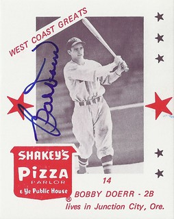 1975 Shakey's Pizza / West Coast Greats - Bobby Doerr #14 (Second Base) - Autographed Baseball Card (Boston Red Sox)