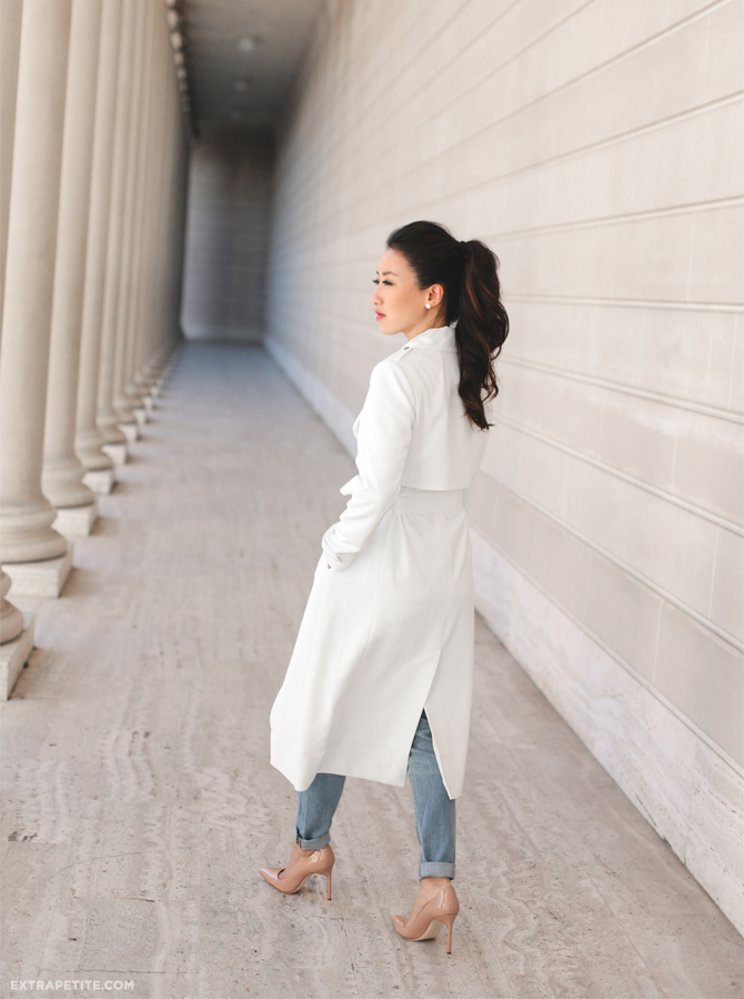 WHBM spring outfit white trench jacket