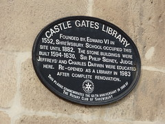 Photo of Edward VI, Charles Darwin, Shrewsbury Library, and Shrewsbury School black plaque