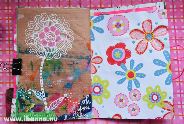 Mini Art Journal Flower Doodle and flower pattern with glitter - created by iHanna