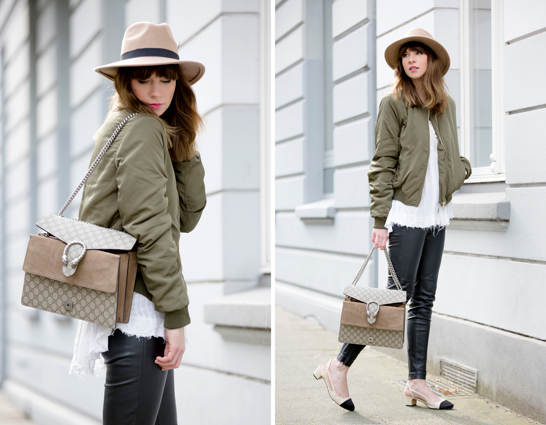 bomber jacket bomberjacke chanel slingbacks lookalike heine pumps chic gucci dionysus hat cute hipster style fashionblogger modeblogger düsseldorf styleblogger berlin high end luxury chic ricarda schernus cats & dogs blog 4