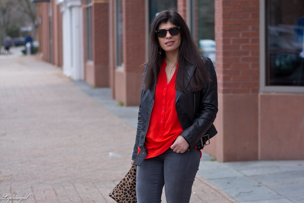 grey jeans, red blouse, black leather jacket, leopard clutch-4.jpg