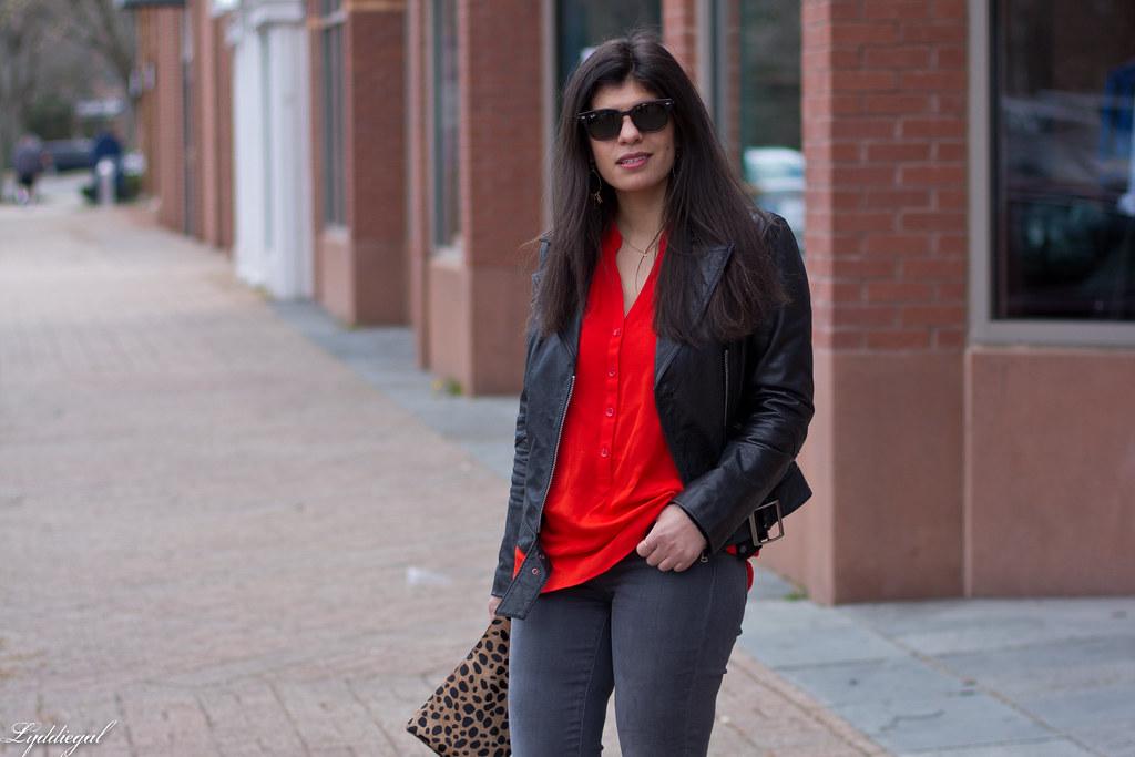 grey jeans, red blouse, black leather jacket, leopard clutch-4.jpg