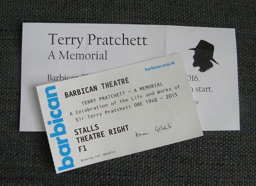 Terry Pratchett memorial ticket
