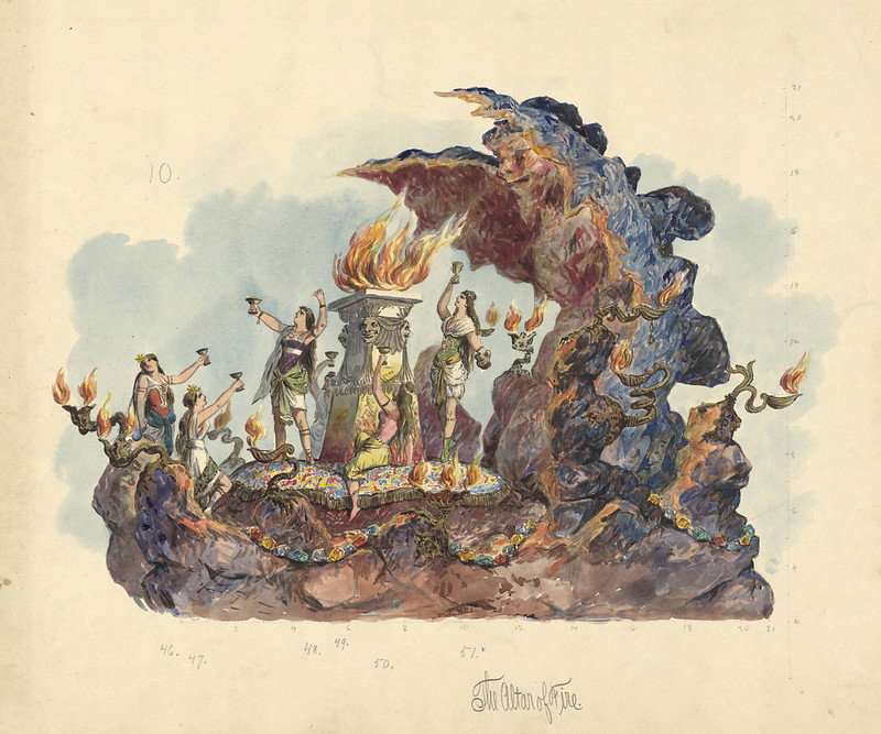 Carlotta Bonnecaze - The Altar of Fire, float design from Krewe of Proteus, 1891