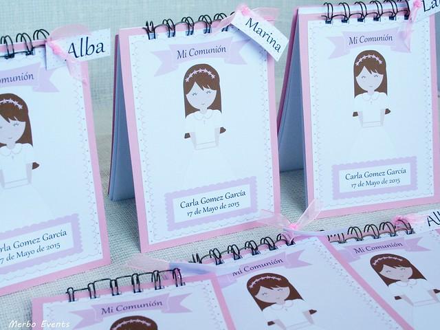 libretas personalizadas comuniones  niñas Merbo Events