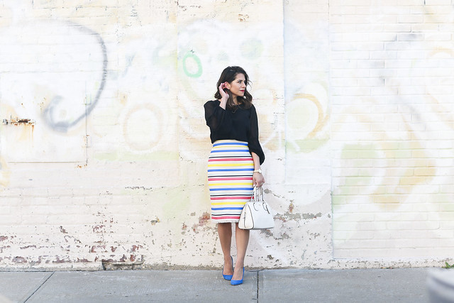 Jcrew skirt-colorful-stripes-blue heels-what to wear to work-corporate outfit-thredup-corproate catwalk-club monaco shirt-black top3