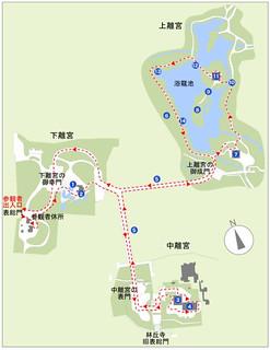 修学院離宮、略図 by宮内庁サイト