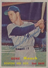 1957 Topps - Gene Mauch (Second Baseman) #342 (b. 18 Nov 1925 - d. 8 Aug 2005 at age 79) - Autographed Baseball Card (Boston Red Sox)