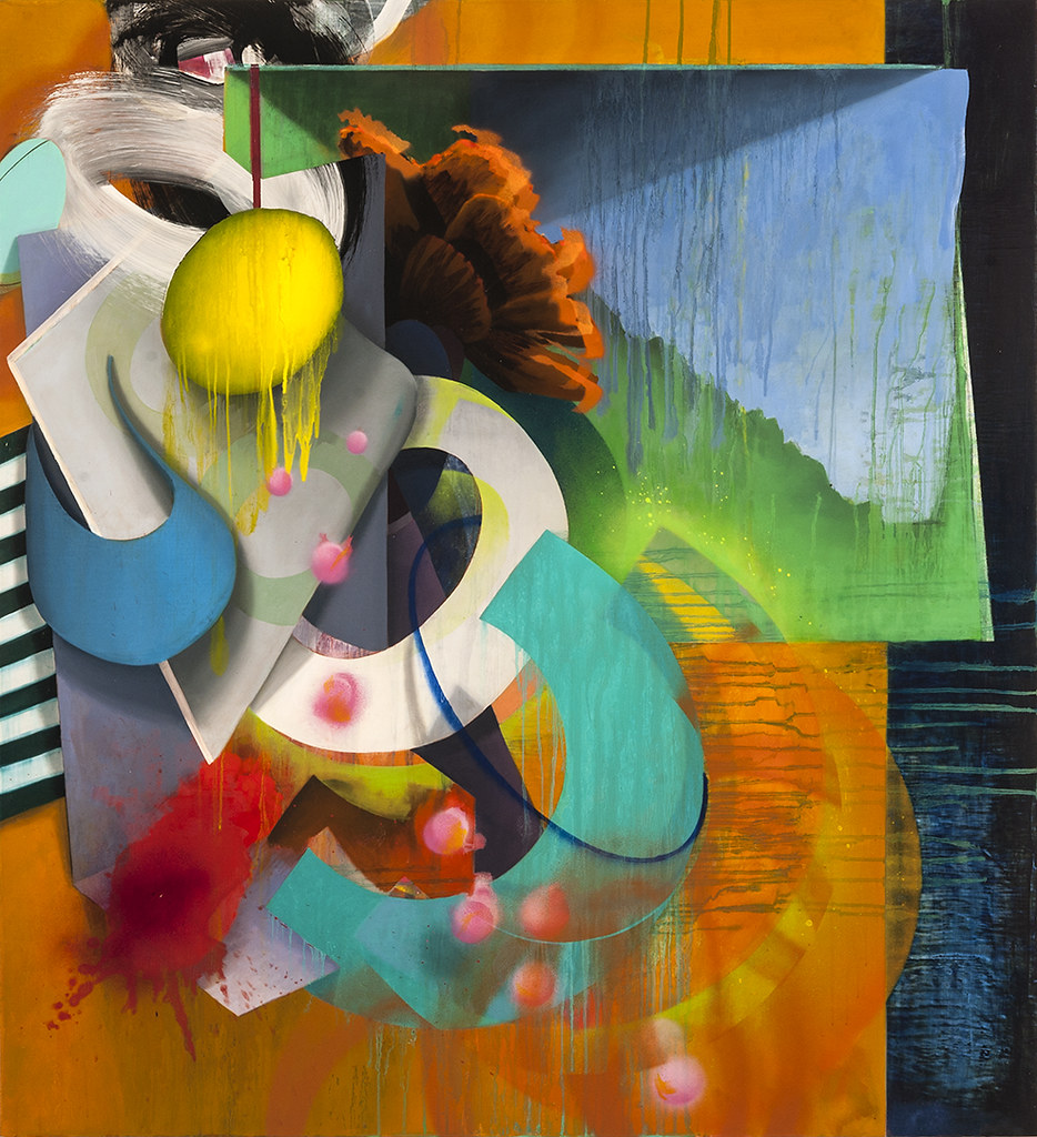 "The Nature of Things #5, 2015, 46"" x 42"", oil and spray paint on canvas"