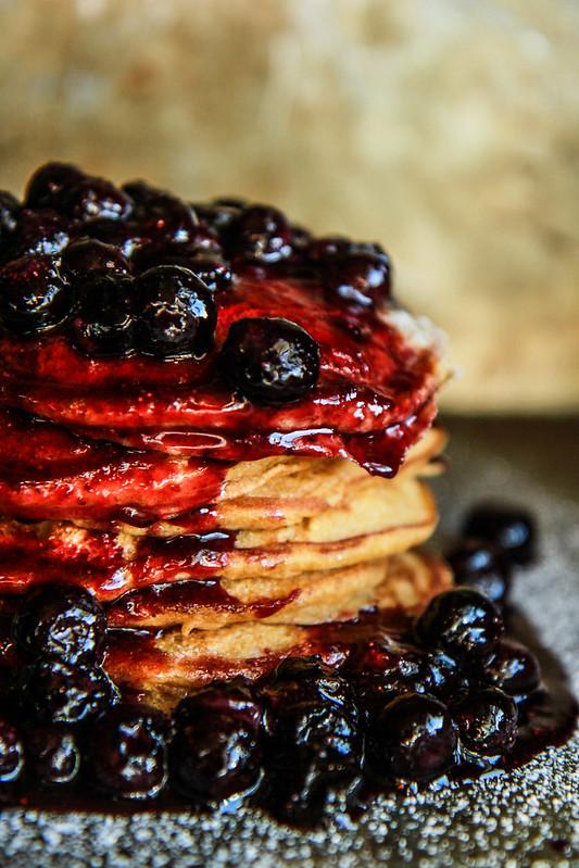 Sweet Potato Pancakes with Cinnamon Spiced Blueberry Sauce- Vegan and Gluten Free from HeatherChristo.com
