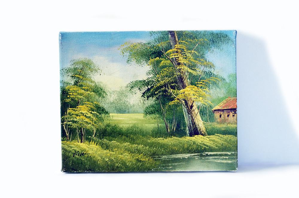 Vintage Spring Summer Landscape Painting on Stretched Canvas