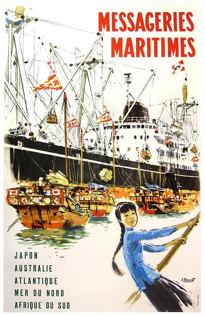 MESSAGERIES MARITIMES - Poster quảng cáo của hãng tàu biển MM
