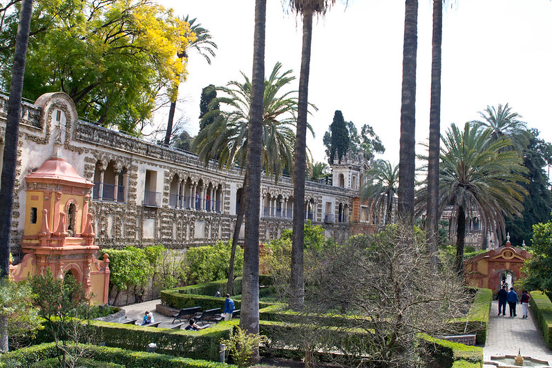 Gardens with the Grotto Gallery, Alcazar of Seville, Spain | packmeto.com
