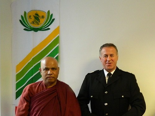 Venerable Pidiville Piyatissa and Fire Officer Daryl Oprey at MBC Manchester Buddhist Convention in 2013