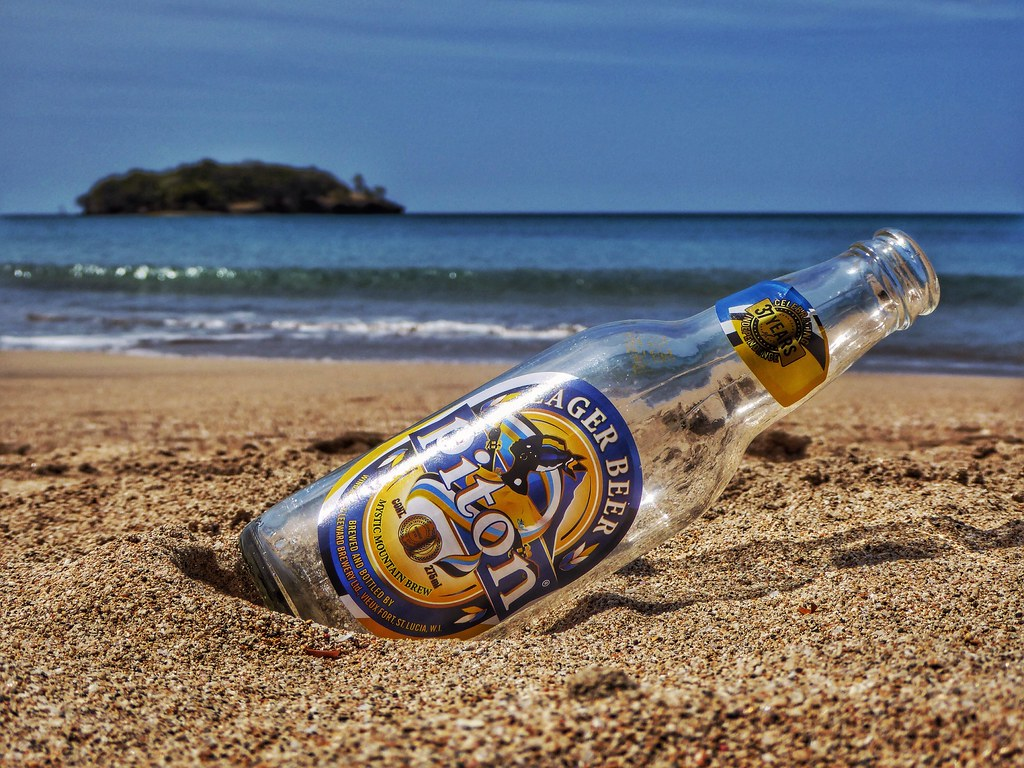 Piton Lager Beer, Halcyon Beach, St. Lucia.