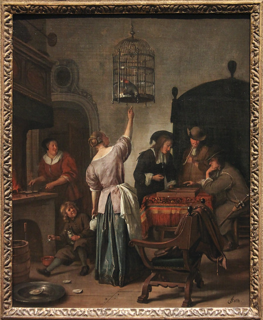 "Interior with a Woman Feeding a Parrot, Known as ""The Parrot Cage"", Jan Havicksz Steen, c.1660-70"