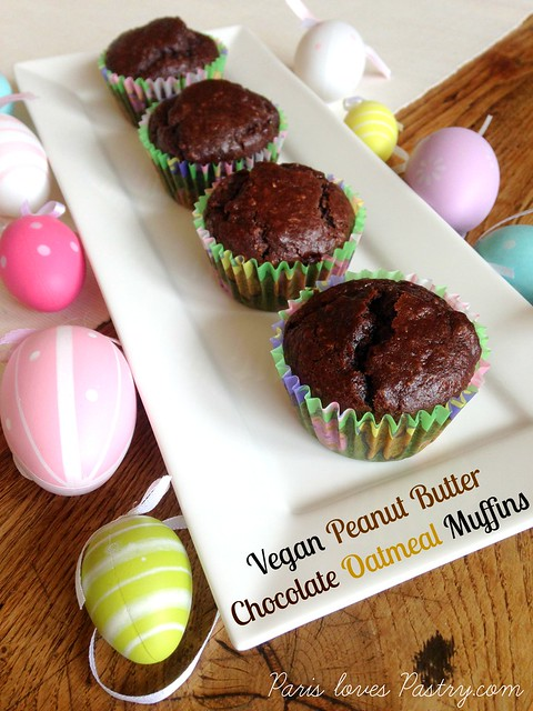 Vegan Peanut Butter Chocolate Oatmeal Muffins