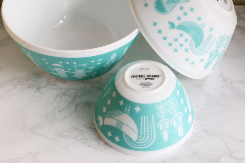 Vintage Charm bowls, white turquoise rise n shine print, mixing bowl, glass dish