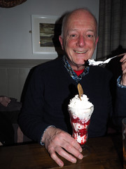 Photo of Alan Dewar with tall ice cream