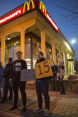 Fast food workers on strike for higher minimum wage and better benefits
