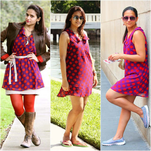 Three Ways To Style A Polka Dot Dress Tanvii.com