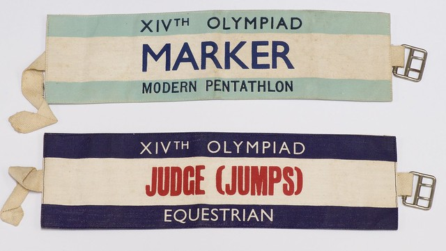 Cloth armbands worn by officials supervising modern pentathlon events at the Olympic Games, London, 30 July-4 August 1948 (Modern Pentathlon J/4/1)