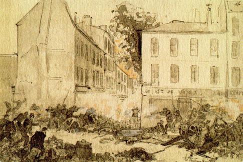 Dessin de Robida Le 28 Mai 1871, 2 heures, prise de la dernière barricade située à l'angle des rue de Tourtille et Ramponneau, malgré la défense désespérée des insurgésbarricade_ramponeau_Commune_1871 Uti 485