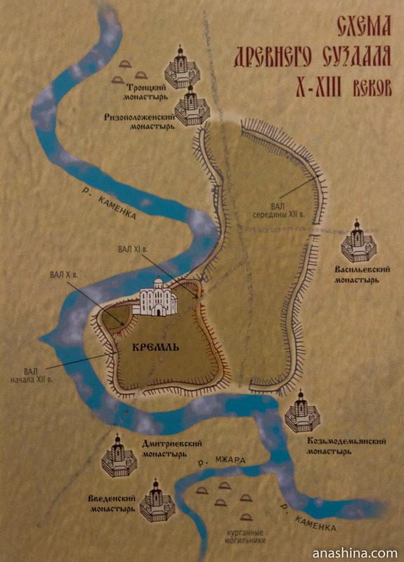 Схема древнего Суздаля X-XIII веков